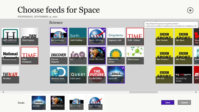 Create your own news sections using any feeds you like