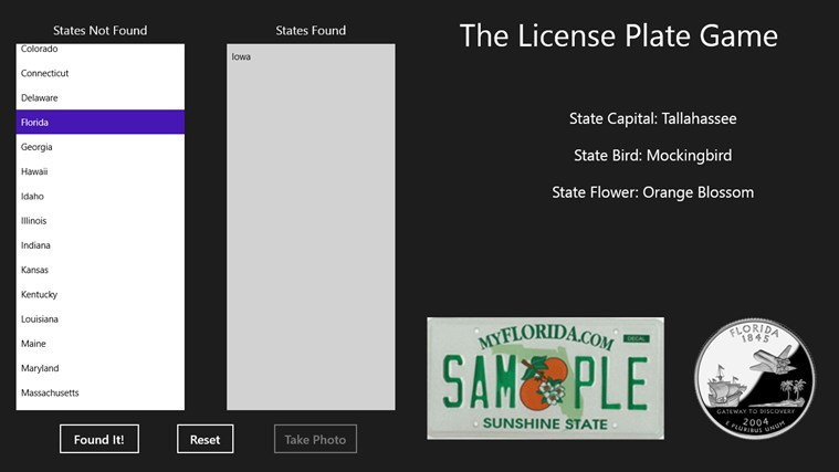 License Plate Game screen shot 2