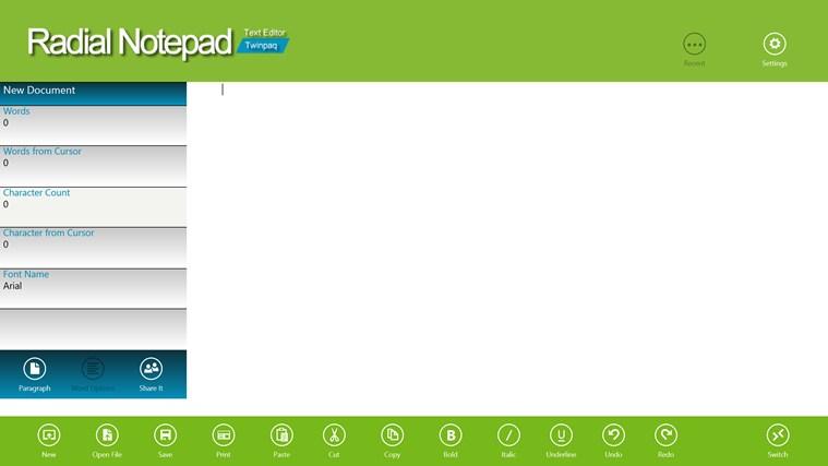Radial Notepad full screenshot
