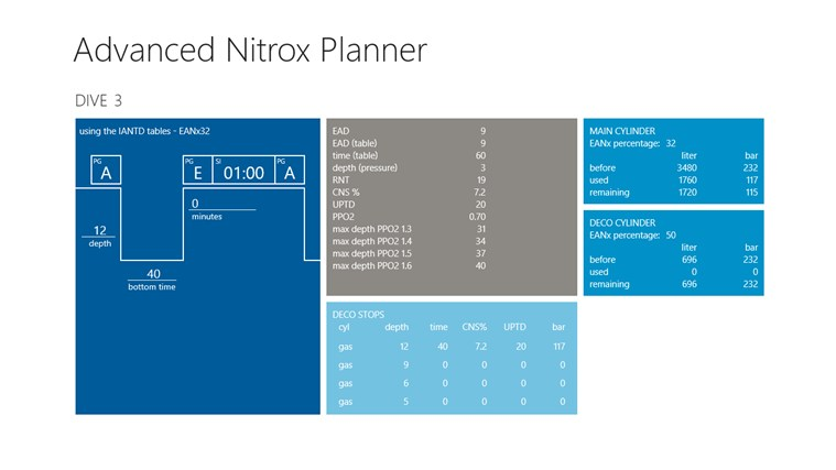 Advanced Nitrox Planner screen shot 2