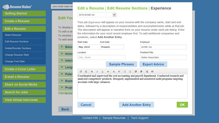 resume maker screen shot 2