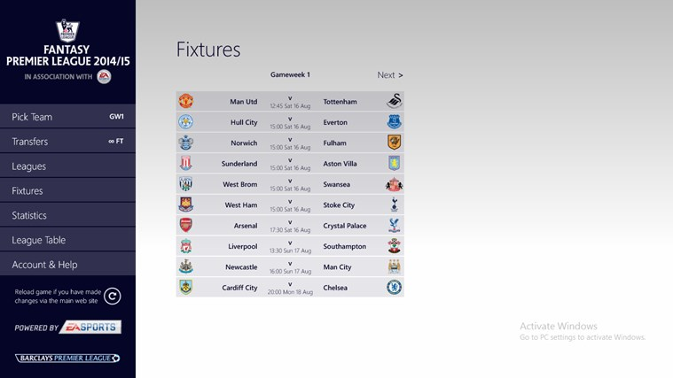 Fantasy Premier League 14/15 – Official App screen shot 2