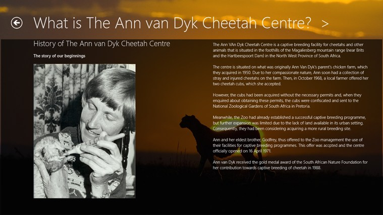 The Ann van Dyk Cheetah Centre skermskoot 2
