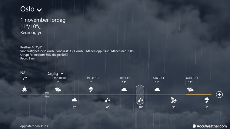 AccuWeather for Windows 8 skjermbilde 2