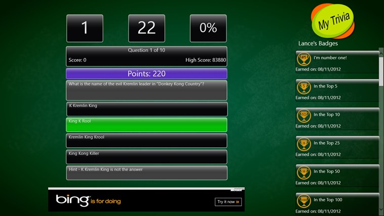 My Trivia Sports screen shot 2
