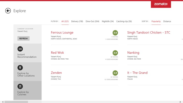 Zomato screen shot 2