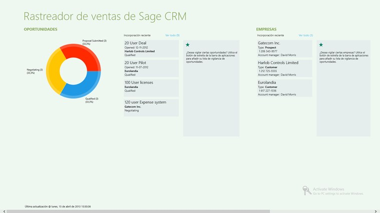 Sage CRM Sales Tracker captura de pantalla 0