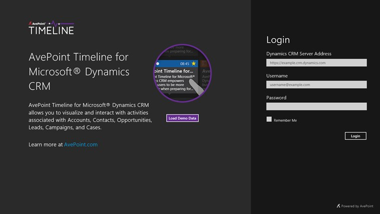 AvePoint Timeline for Microsoft® Dynamics CRM screen shot 0