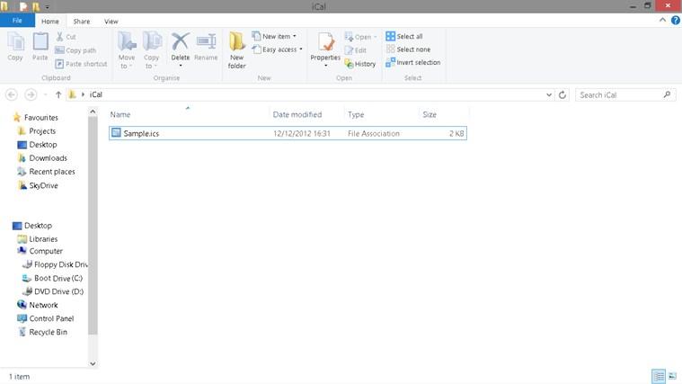 iCalendar Importer screen shot 2