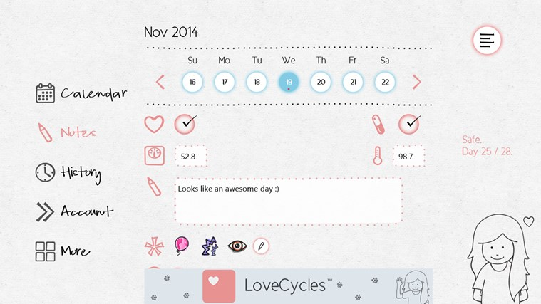 LoveCycles Menstrual Calendar app for Windows in the Windows Store