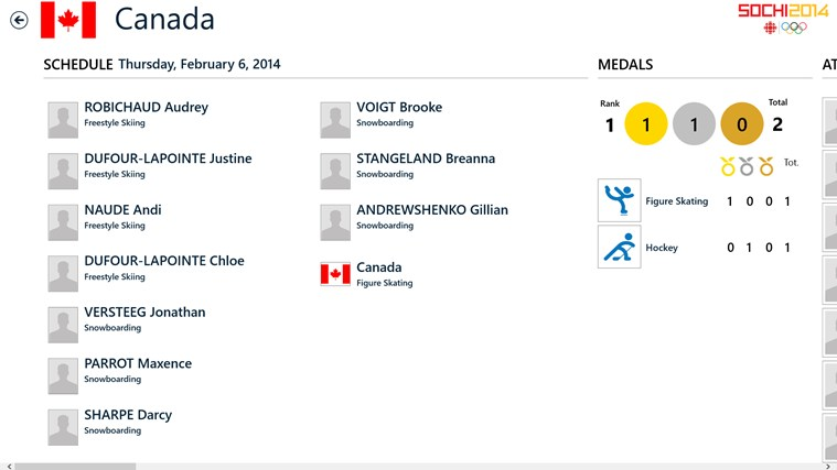 CBC Sochi 2014 screen shot 8
