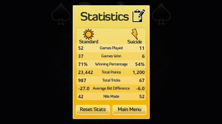 Spades screen shot 2