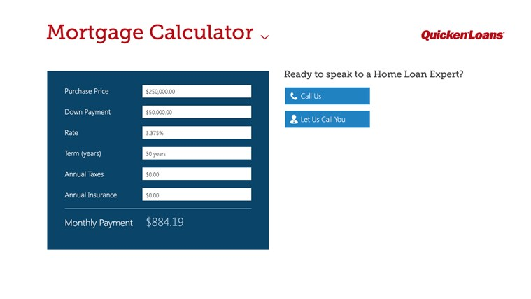 mortgage calculator by quicken loans app for windows in