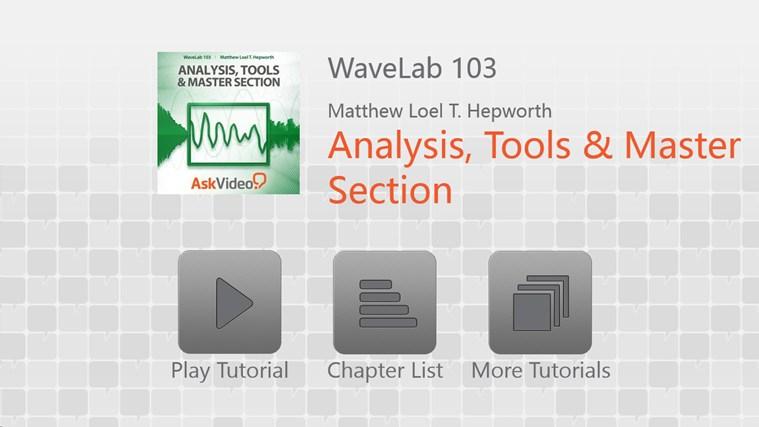 WaveLab 103 - Analysis, Tools & Master Section full screenshot