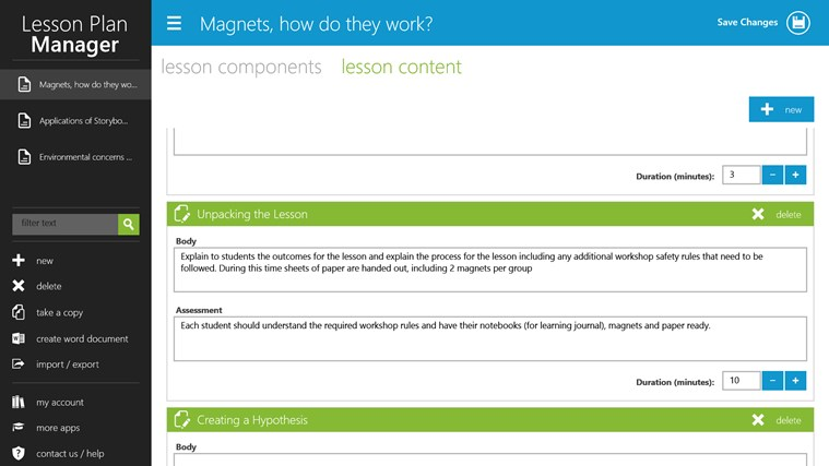Lesson Plan Manager screen shot 2