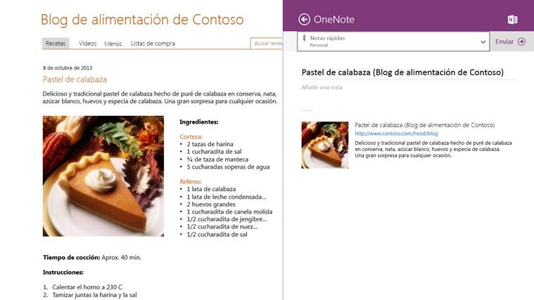 OneNote captura de pantalla 4