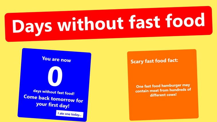 Days without fast food screen shot 0