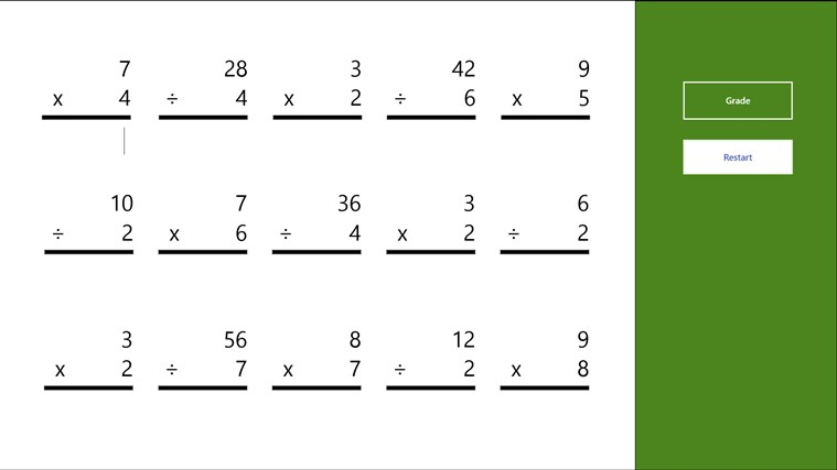 Multiplication and Division Worksheet app for Windows in the Windows ...