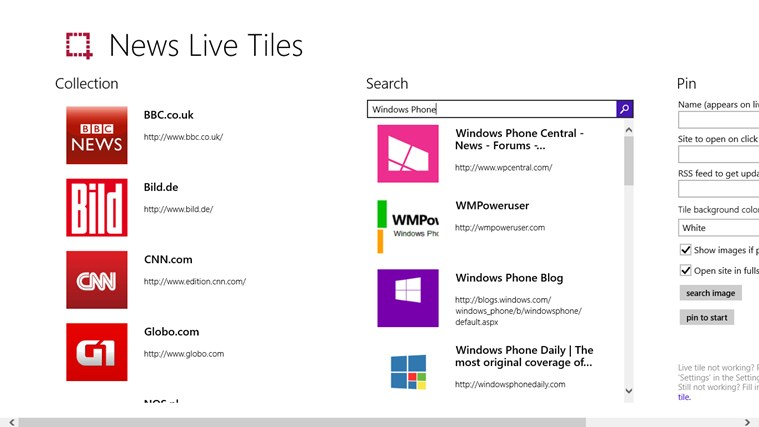 News Live Tiles screen shot 0