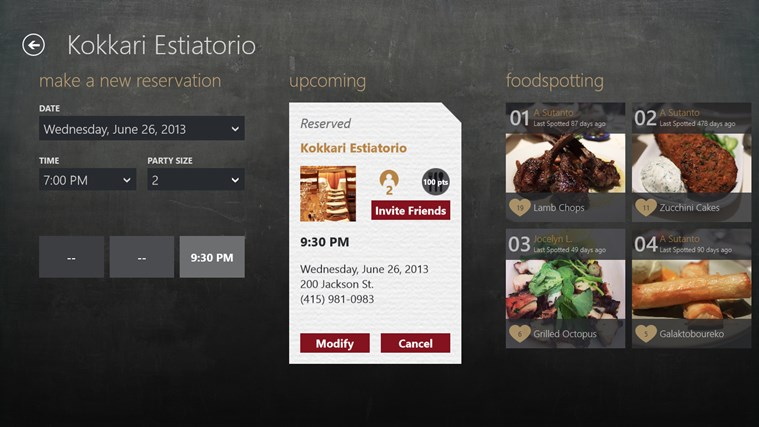 OpenTable screen shot 2