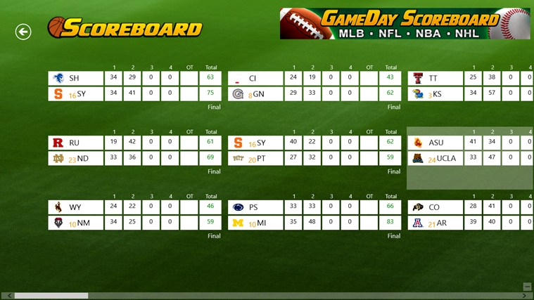 College Basketball Scoreboard screen shot 0