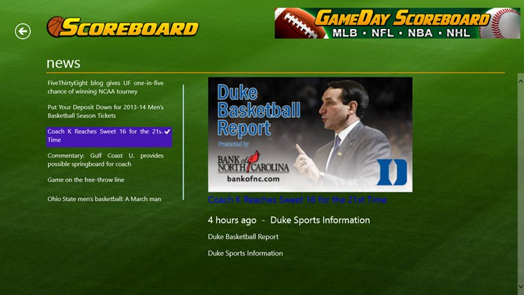 College Basketball Scoreboard screen shot 2