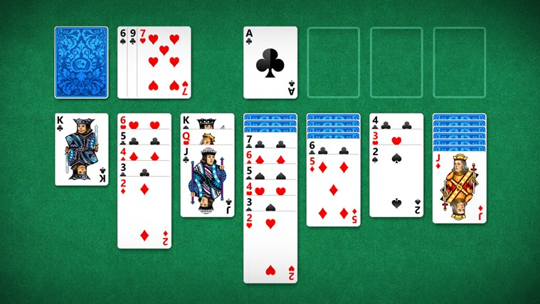 Play five popular versions of solitaire including the classic Klondike Solitaire.