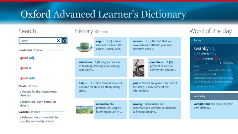 Windows 8 Oxford Advanced Learner's Dictionary for Windows UWP full