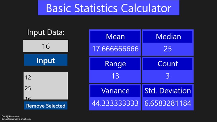 Basic Statistic Calculator screen shot 2