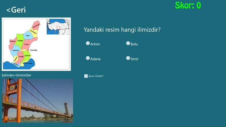 Şehirler Testi ekran görüntüsü 2