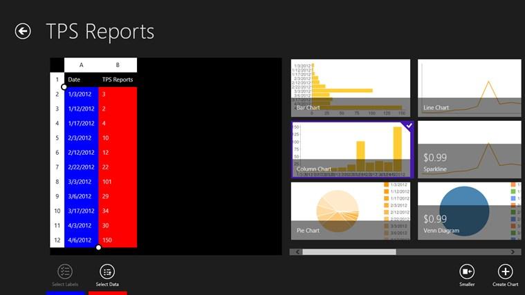 Tile Charts screen shot 2