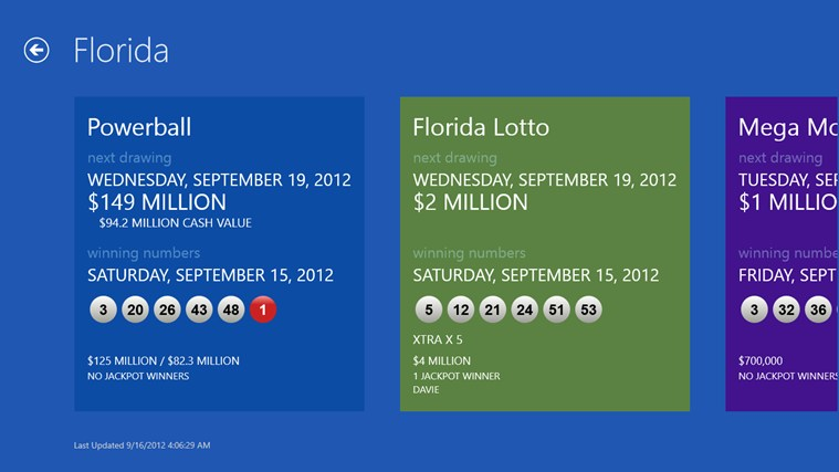 Lotto Results screen shot 2