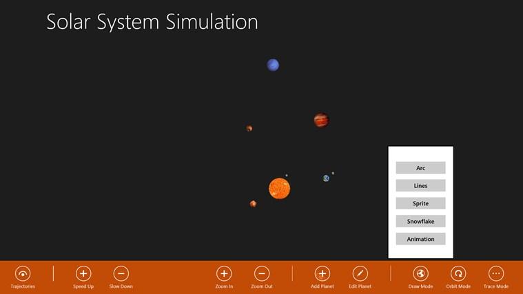 Solar System Simulation screen shot 2