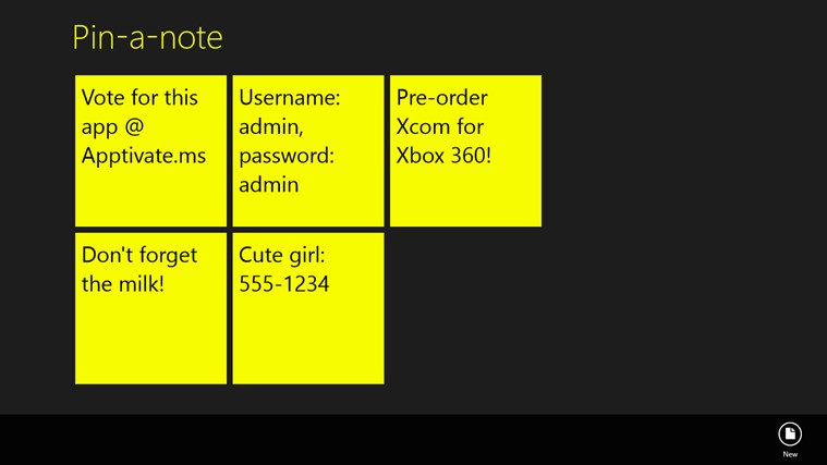 Pin-a-note for Win8 UI  full