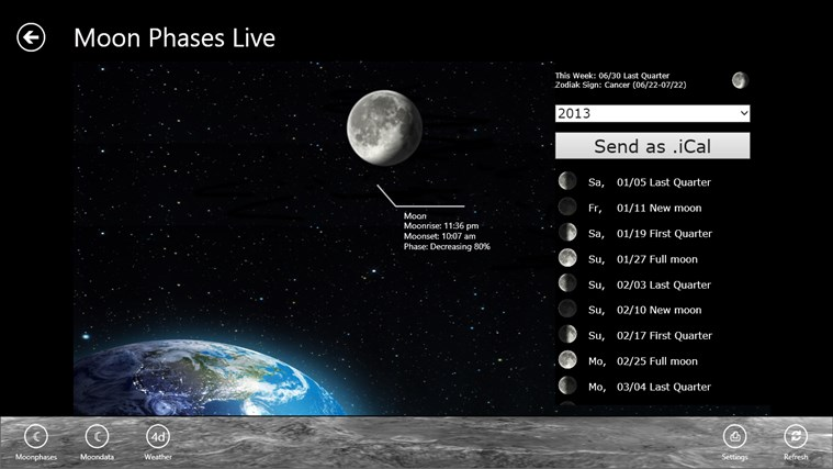 Moon Phases Live screen shot 0
