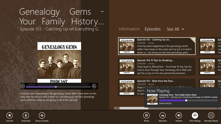 Genealogy Gems - Your Family History Show screen shot 2
