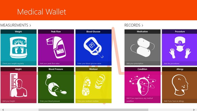 Medical Wallet for Win8 UI screenshot