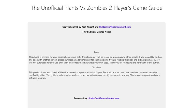 Plants Vs Zombies 2 Game Guide Screenshot 0