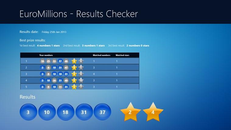 EuroMillions - Results Checker posnetek zaslona 0