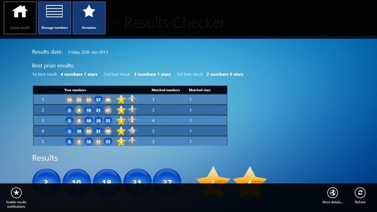 EuroMillions - Results Checker posnetek zaslona 4