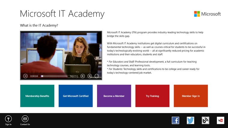 Microsoft IT Academy screen shot 0