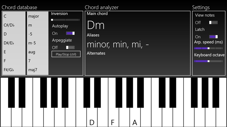 Piano Chords For Win8 Ui Screenshot Windows 8 Downloads