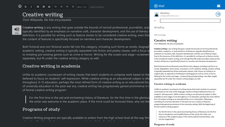 WritePlus screen shot 2