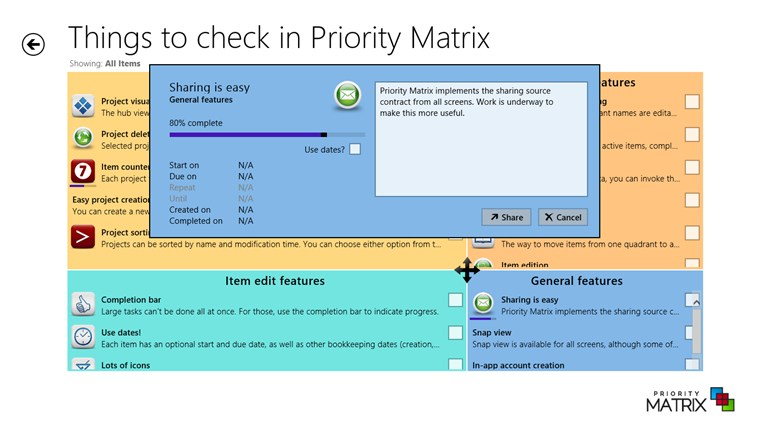 Priority Matrix screen shot 2
