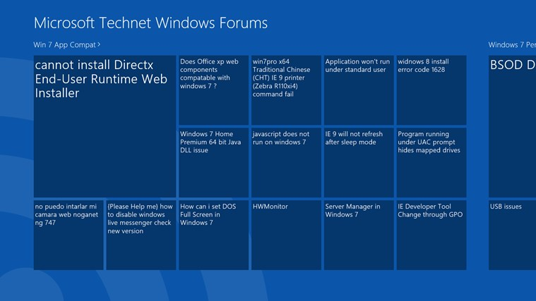 Technet Windows Forum Reader screen shot 0