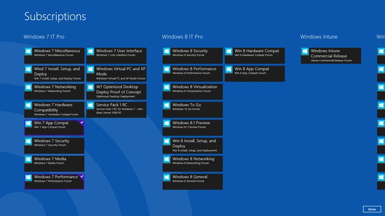 Technet Windows Forum Reader screen shot 2
