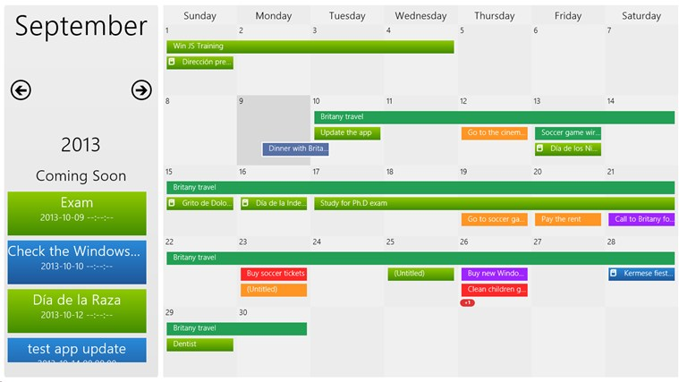 Events calendar app for windows in the windows store