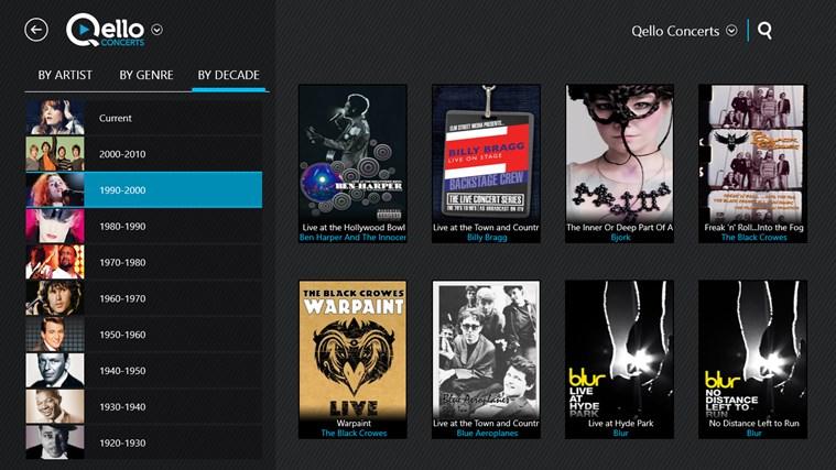Qello Concerts screen shot 2