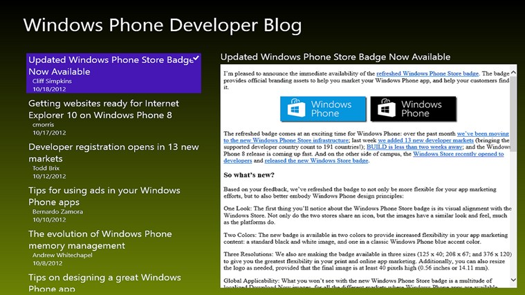 Windows Phone Developer Posts screen shot 0