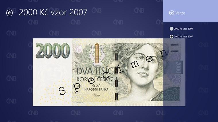 České peníze snímek obrazovky 2